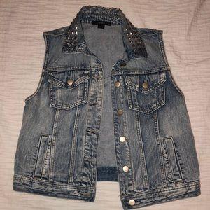 Denim Jean Vest w/ Pyramid Stud Collar